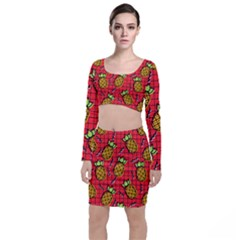 Fruit Pineapple Red Yellow Green Long Sleeve Crop Top & Bodycon Skirt Set