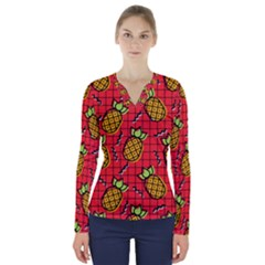 Fruit Pineapple Red Yellow Green V Neck Long Sleeve Top