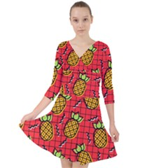 Fruit Pineapple Red Yellow Green Quarter Sleeve Front Wrap Dress