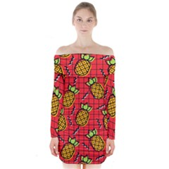 Fruit Pineapple Red Yellow Green Long Sleeve Off Shoulder Dress