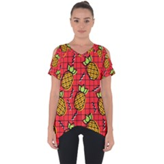 Fruit Pineapple Red Yellow Green Cut Out Side Drop Tee