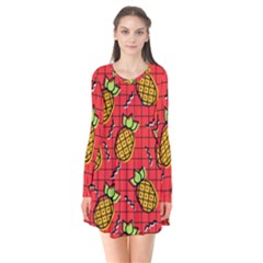 Fruit Pineapple Red Yellow Green Flare Dress