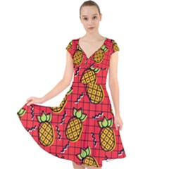 Fruit Pineapple Red Yellow Green Cap Sleeve Front Wrap Midi Dress