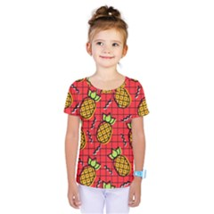 Fruit Pineapple Red Yellow Green Kids  One Piece Tee