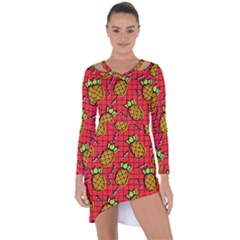 Fruit Pineapple Red Yellow Green Asymmetric Cut Out Shift Dress