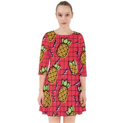 Fruit Pineapple Red Yellow Green Smock Dress