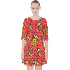 Fruit Pineapple Red Yellow Green Pocket Dress