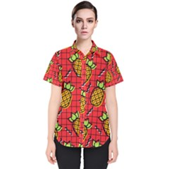 Fruit Pineapple Red Yellow Green Women s Short Sleeve Shirt