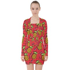 Fruit Pineapple Red Yellow Green V Neck Bodycon Long Sleeve Dress