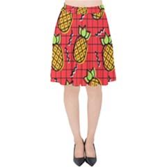 Fruit Pineapple Red Yellow Green Velvet High Waist Skirt