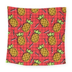 Fruit Pineapple Red Yellow Green Square Tapestry (large)