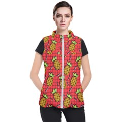 Fruit Pineapple Red Yellow Green Women s Puffer Vest