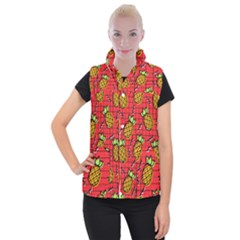 Fruit Pineapple Red Yellow Green Women s Button Up Puffer Vest
