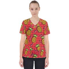 Fruit Pineapple Red Yellow Green Scrub Top