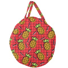Fruit Pineapple Red Yellow Green Giant Round Zipper Tote