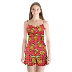 Fruit Pineapple Red Yellow Green Satin Pajamas Set