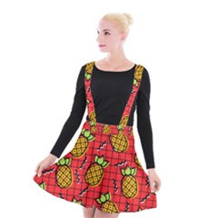 Fruit Pineapple Red Yellow Green Suspender Skater Skirt