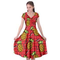 Fruit Pineapple Red Yellow Green Cap Sleeve Wrap Front Dress