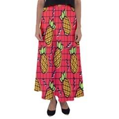 Fruit Pineapple Red Yellow Green Flared Maxi Skirt