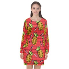 Fruit Pineapple Red Yellow Green Long Sleeve Chiffon Shift Dress