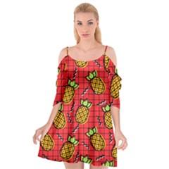 Fruit Pineapple Red Yellow Green Cutout Spaghetti Strap Chiffon Dress