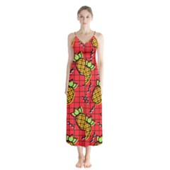 Fruit Pineapple Red Yellow Green Button Up Chiffon Maxi Dress