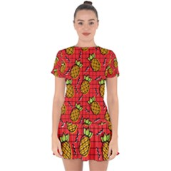Fruit Pineapple Red Yellow Green Drop Hem Mini Chiffon Dress