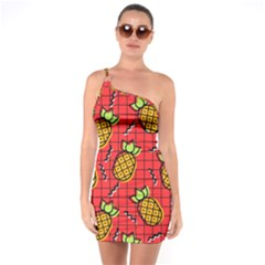 Fruit Pineapple Red Yellow Green One Soulder Bodycon Dress