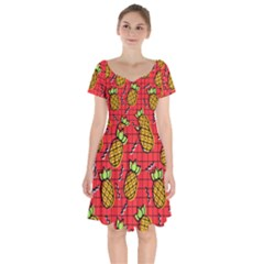 Fruit Pineapple Red Yellow Green Short Sleeve Bardot Dress