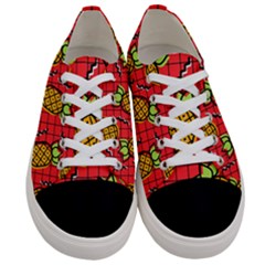 Fruit Pineapple Red Yellow Green Women s Low Top Canvas Sneakers