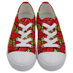 Fruit Pineapple Red Yellow Green Kids  Low Top Canvas Sneakers