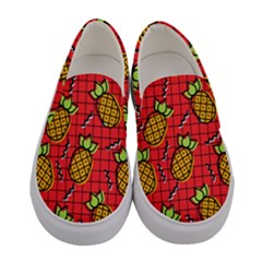 Fruit Pineapple Red Yellow Green Women s Canvas Slip Ons