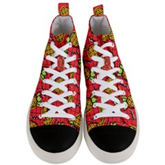 Fruit Pineapple Red Yellow Green Men s Mid Top Canvas Sneakers