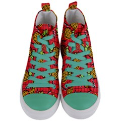 Fruit Pineapple Red Yellow Green Women s Mid Top Canvas Sneakers