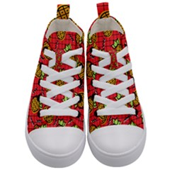 Fruit Pineapple Red Yellow Green Kid s Mid Top Canvas Sneakers