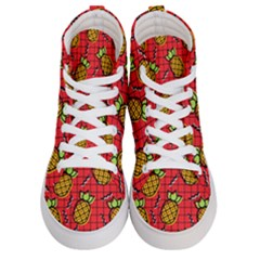 Fruit Pineapple Red Yellow Green Men s Hi Top Skate Sneakers