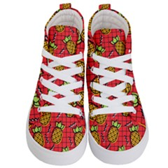 Fruit Pineapple Red Yellow Green Kid s Hi Top Skate Sneakers