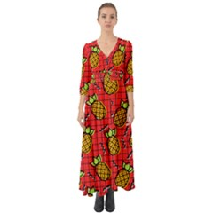 Fruit Pineapple Red Yellow Green Button Up Boho Maxi Dress
