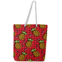 Fruit Pineapple Red Yellow Green Full Print Rope Handle Tote (large)