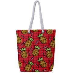 Fruit Pineapple Red Yellow Green Full Print Rope Handle Tote (small)