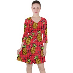 Fruit Pineapple Red Yellow Green Ruffle Dress