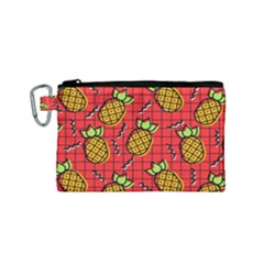 Fruit Pineapple Red Yellow Green Canvas Cosmetic Bag (small)