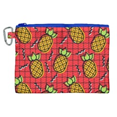 Fruit Pineapple Red Yellow Green Canvas Cosmetic Bag (xl)