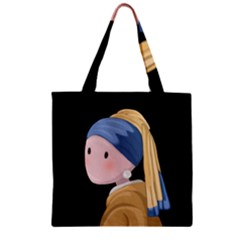 Girl With A Pearl Earring Zipper Grocery Tote Bag