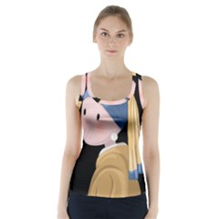 Girl With A Pearl Earring Racer Back Sports Top