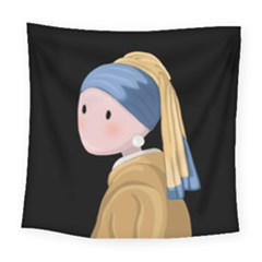 Girl With A Pearl Earring Square Tapestry (large)