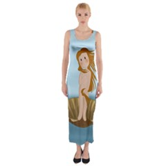 The Birth Of Venus Fitted Maxi Dress