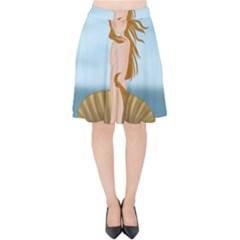 The Birth Of Venus Velvet High Waist Skirt