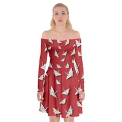 Paper Cranes Pattern Off Shoulder Skater Dress