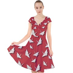 Paper Cranes Pattern Cap Sleeve Front Wrap Midi Dress